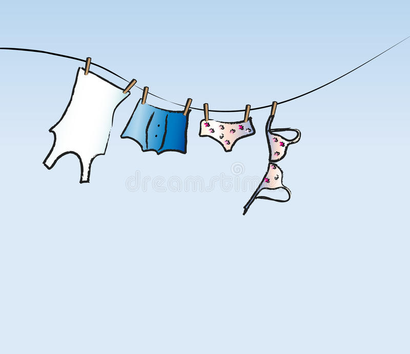 Download His and hers washing line stock vector. Image of panties - 13468460