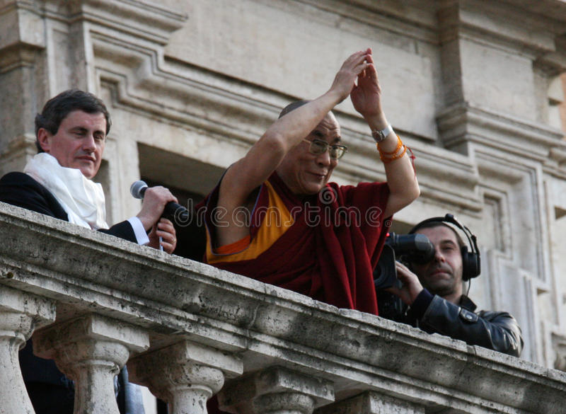 His Holiness Dalai Lama. Get the citizenship ab honorem from Gianni Alemanni, mayor city of Rome on February 9, 2009 in Rome, Italy stock image