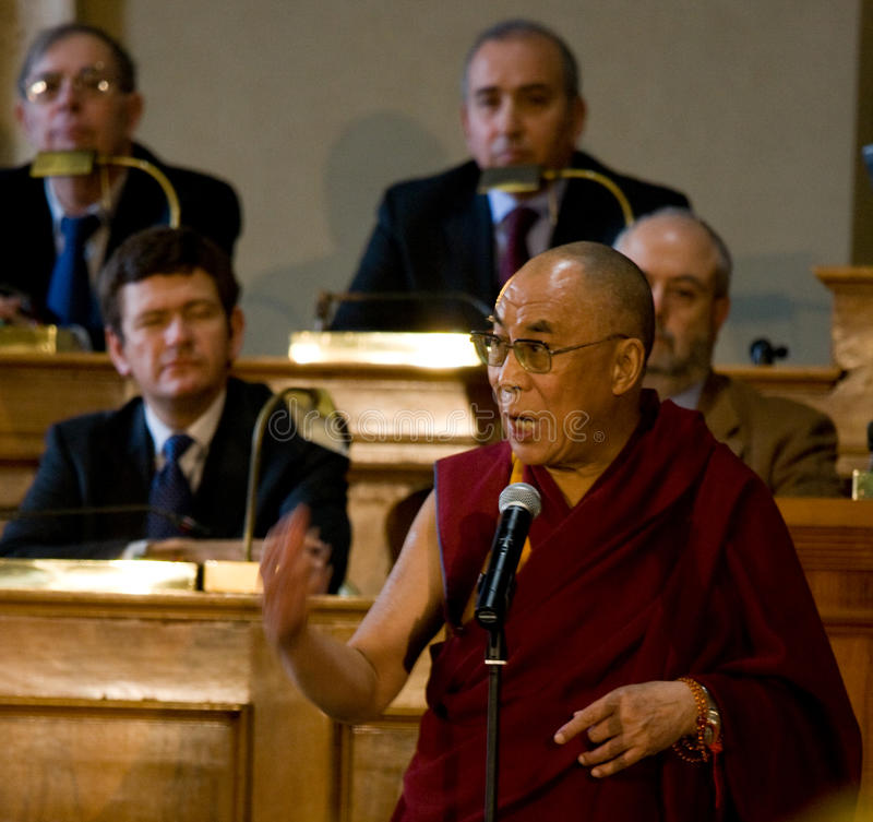 His Holiness Dalai Lama. Get the citizenship ab honorem from Gianni Alemanni, mayor city of Rome on February 9, 2009 in Rome, Italy royalty free stock photography