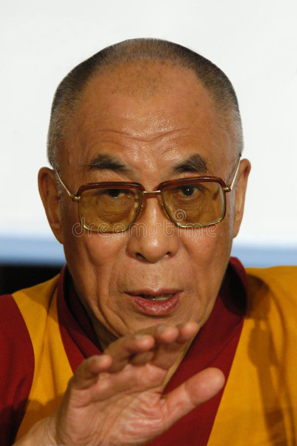 His Holiness Dalai Lama. On the news conference stock images