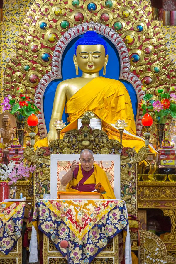 His Holiness the 14 Dalai Lama Tenzin Gyatso gives teachings in his residence in Dharamsala, India. Dharamsala, India - June 6, 2017: His Holiness the 14 Dalai royalty free stock photography