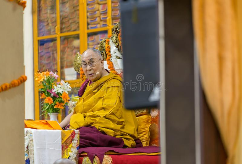His Holiness the 14 Dalai Lama Tenzin Gyatso gives teachings in his residence in Dharamsala, India. Dharamsala, India - June 6, 2017: His Holiness the 14 Dalai stock images