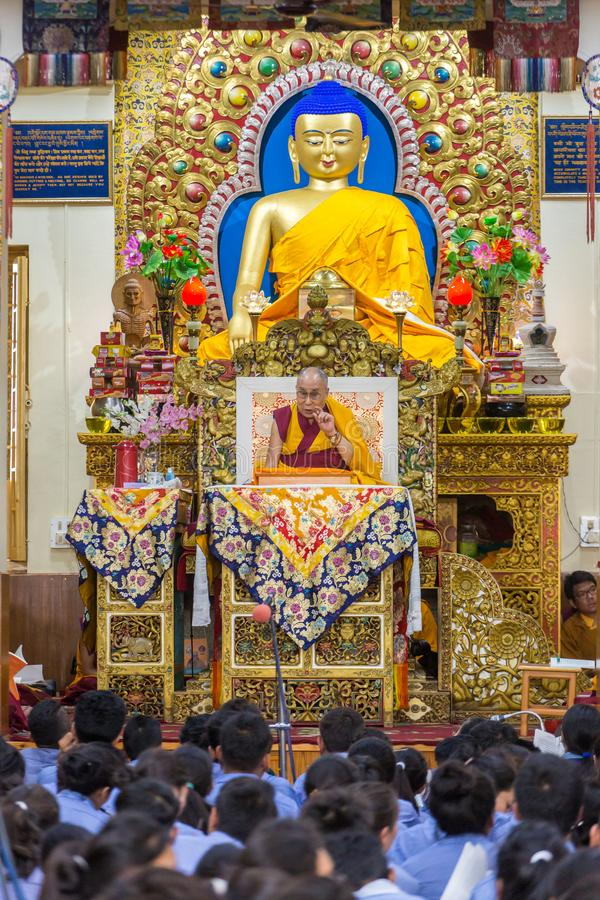 His Holiness the 14 Dalai Lama Tenzin Gyatso gives teachings in his residence in Dharamsala, India. Dharamsala, India - June 6, 2017: His Holiness the 14 Dalai stock photography