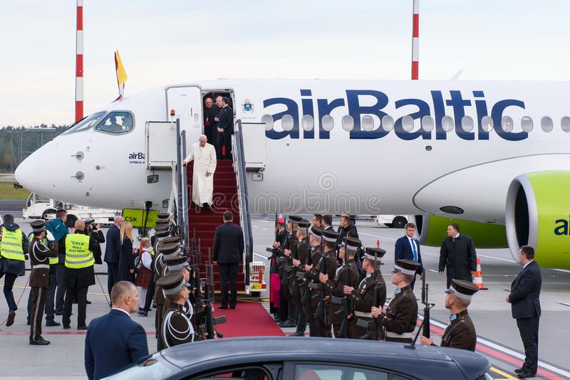 His Holiness Pope Francis arriving at Riga International Airport. 24.09.2018. RIGA, LATVIA. His Holiness Pope Francis arriving at Riga International Airport stock image