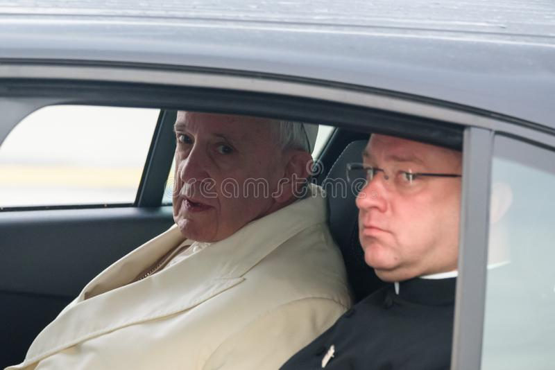 His Holiness Pope Francis in car. 24.09.2018. RIGA, LATVIA. His Holiness Pope Francis arriving at Riga International Airport stock images