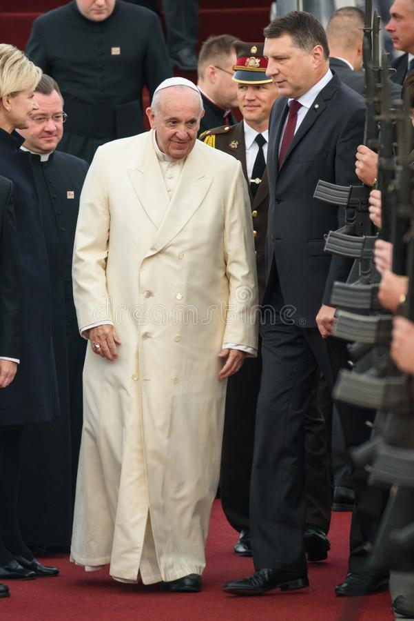 His Holiness Pope Francis and Raimonds Vejonis, during Pope Francis arrival for Official State visit in Riga, Latvia. 24.09.2018. RIGA, LATVIA. His Holiness Pope stock photography