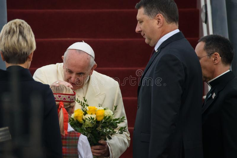 His Holiness Pope Francis and Raimonds Vejonis, President of Latvia. 24.09.2018. RIGA, LATVIA. His Holiness Pope Francis arriving at Riga International Airport royalty free stock photography