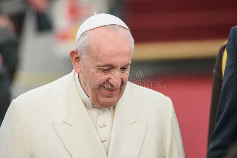 His Holiness Pope Francis smiling, during arrival in Riga. 24.09.2018. RIGA, LATVIA. His Holiness Pope Francis arriving at Riga International Airport royalty free stock photography