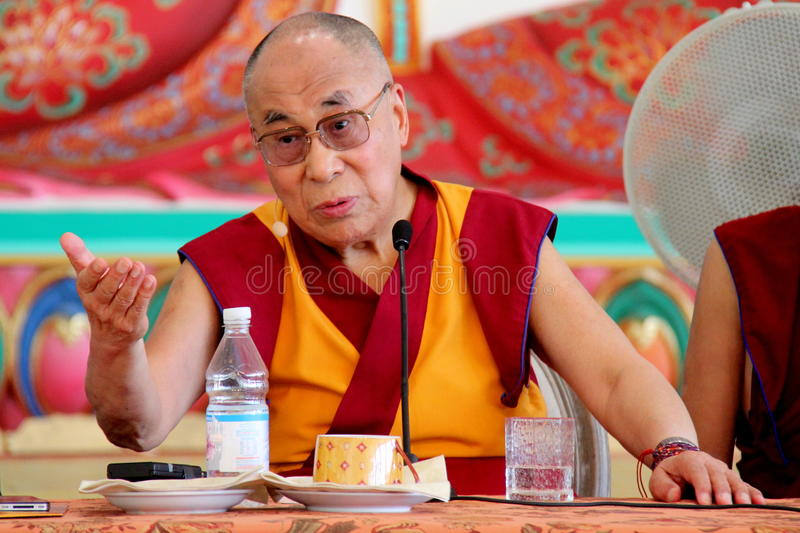 His Holiness the XIV Dalai Lama Tenzin Gyatso. Photographed in Pomaia (Pisa, Italy) during the conference Lama Tsong Khapa Institute royalty free stock image