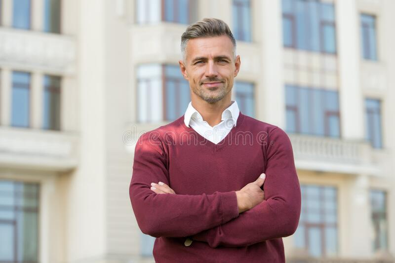 His look is great. Menswear concept. Elegant and stylish businessman. handsome man in urban clothes. man spring style. Casual business attire. Fashion style stock photo