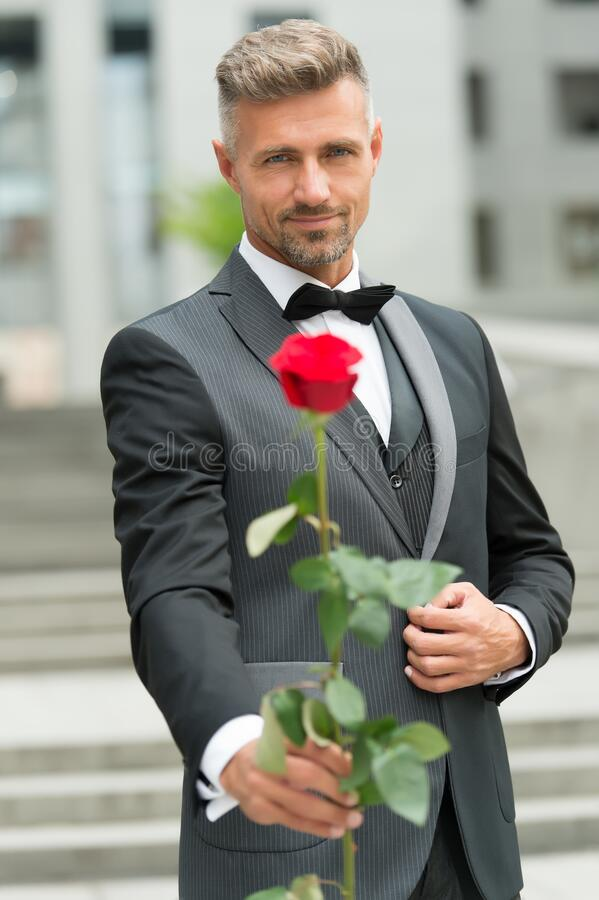 His look very fashion-forward. groom in costume and bow-tie. man give you rose. reason to give red rose. where to wear. Tuxedo. for my valentine. I love you royalty free stock image