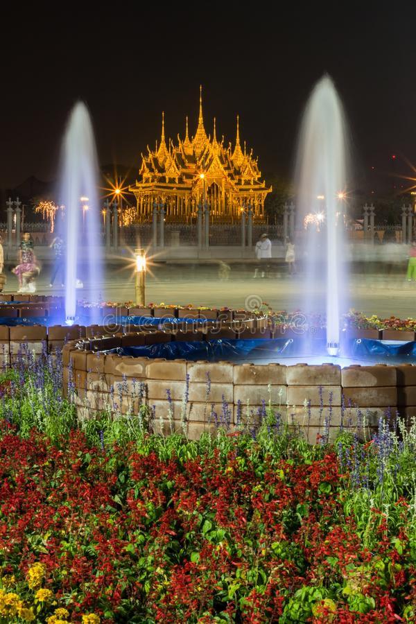 Royal winter festival,Un Ai Rak Khlai Khwam Nao,at Royal Plaza,Dusit Palace and Sanam Suea Pa,Bangkok,Thailand on February 16,2018. His Majesty King Maha stock image