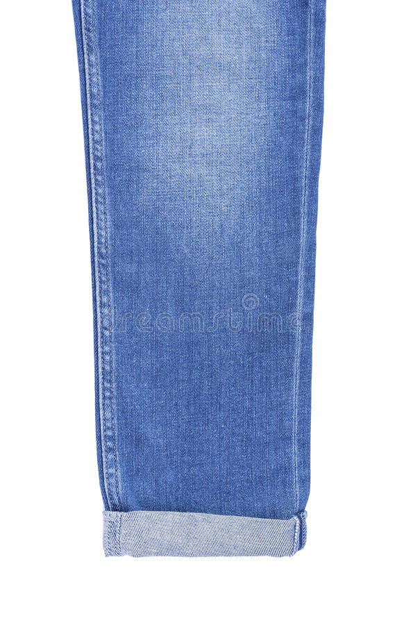 His trouser leg denim pants. Isolated on white background stock images