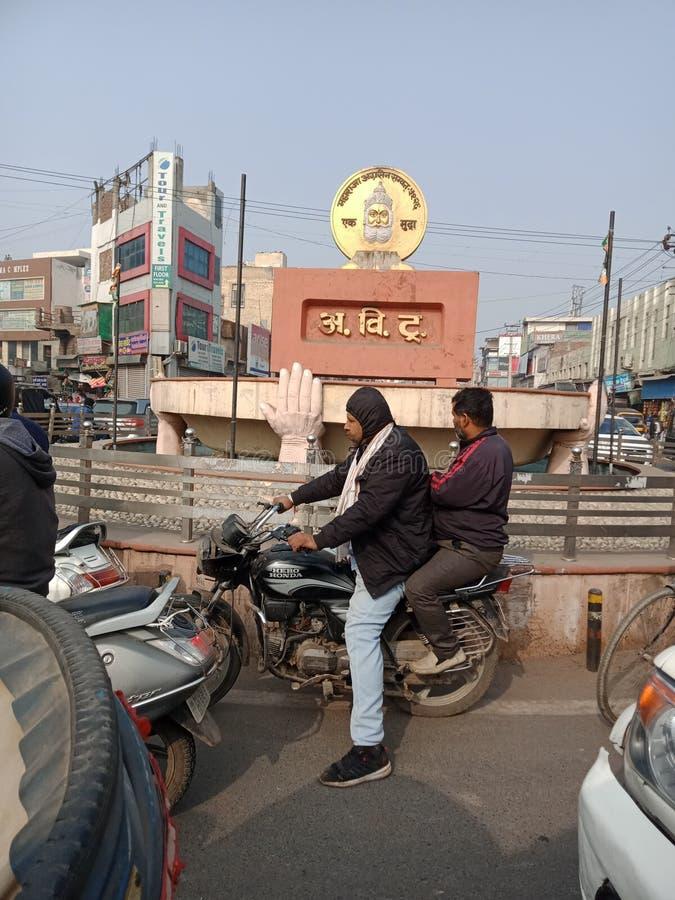 Hisar, haryana India in city croud. Hisar haryana in India city croud fawara Chowk and trafficnMost popular city Chowk in hisar, haryana in India and very busy stock photos