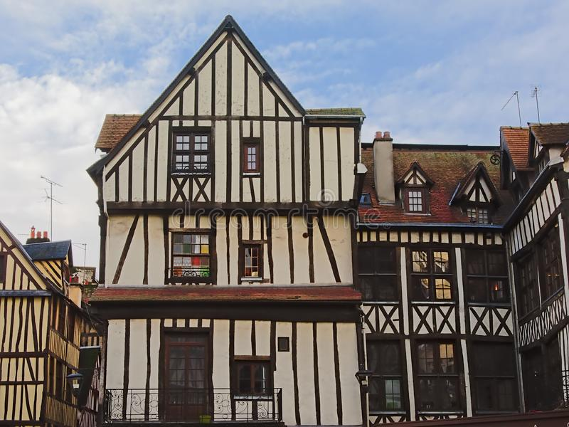 Hisorical house in Timber framing architecture in Rouen stock images