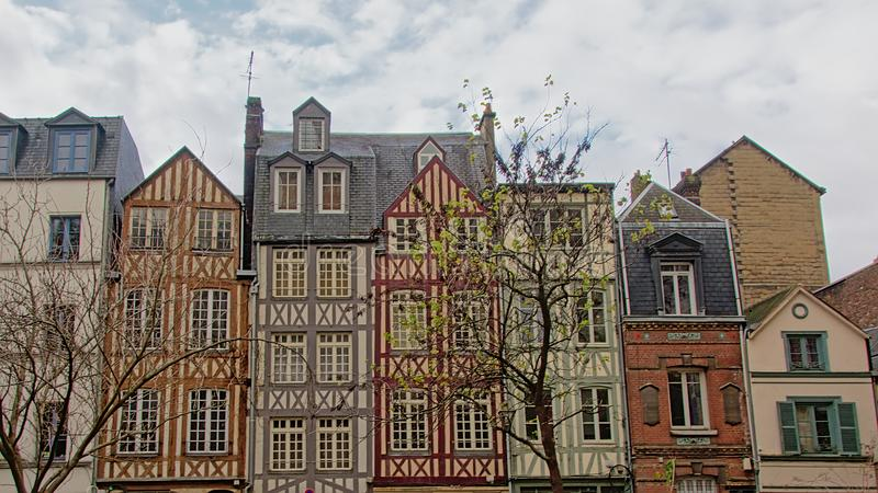Hisorical houses in Timber framing architecture in Rouen royalty free stock image