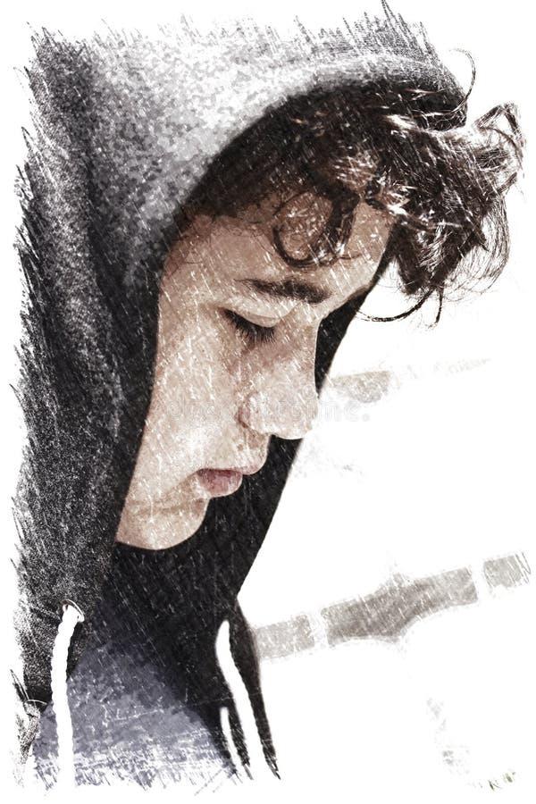 Hispânico incomodado triste 13 de velha escola anos de adolescente do menino que veste um levantamento do hoodie exterior - impre fotos de stock royalty free