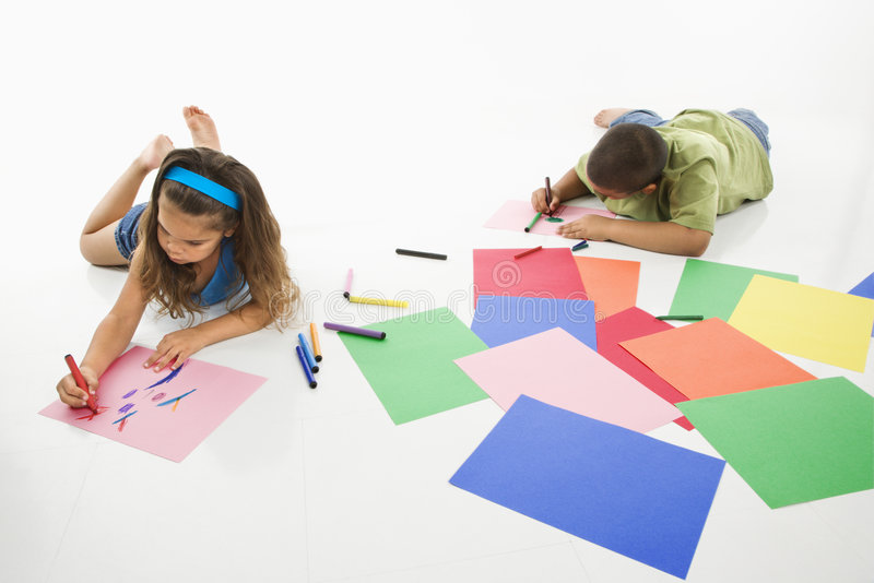 Download Hispanic Boy And Girl Coloring. Stock Image - Image of brother, friendship: 5538709