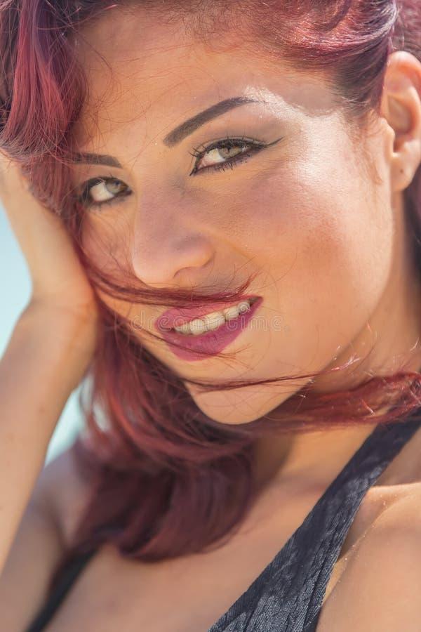Hispanic Brunette Model At The Beach royalty free stock photo