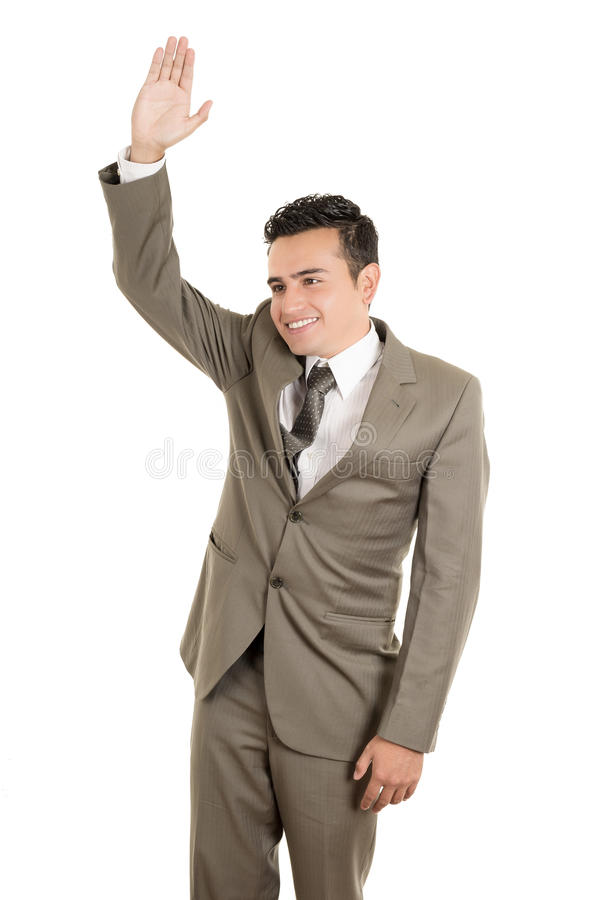 Hispanic business man waving, isolated. This image has attached release royalty free stock image