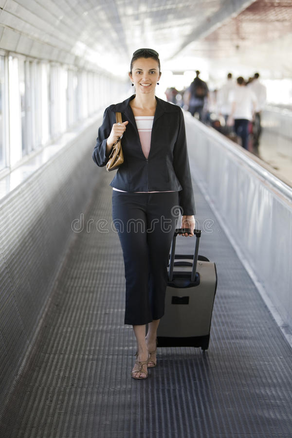 Hispanic businesswoman at the railway station stock image