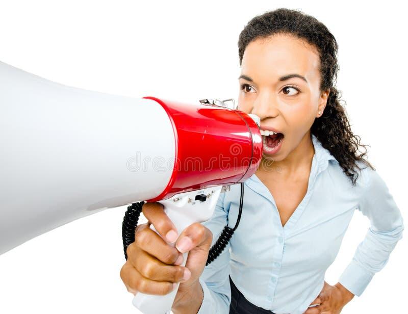 Download Hispanic Businesswoman Shouting Megaphone Loudspeker Stock Photo - Image: 31066270