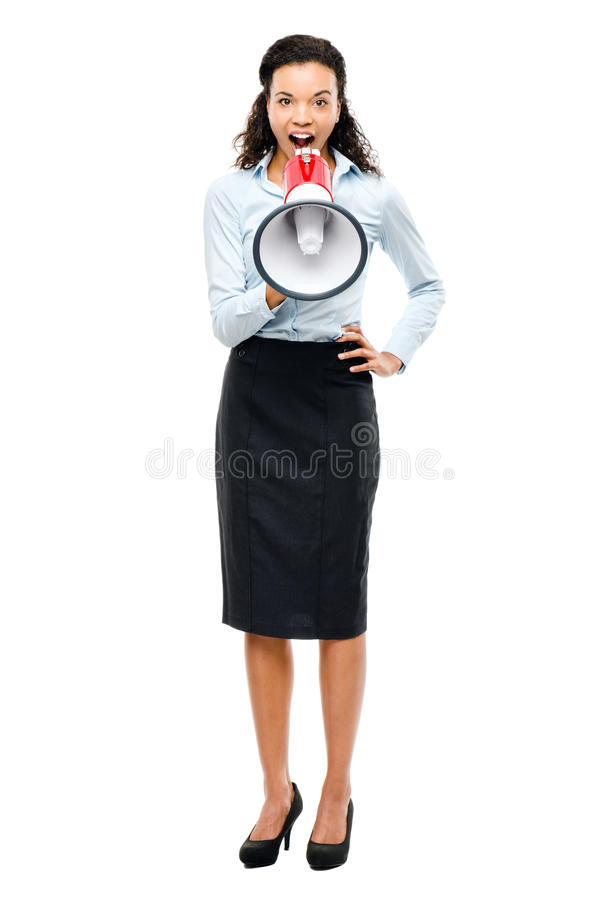 Download Hispanic Businesswoman Shouting Megaphone Loudspeker White Stock Image - Image: 31072849