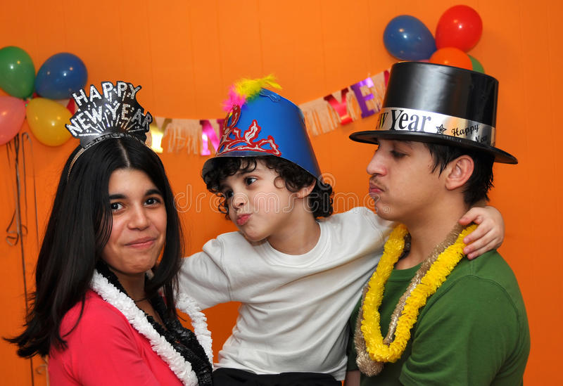 Hispanic Children at a New Years Eve Party1 stock image