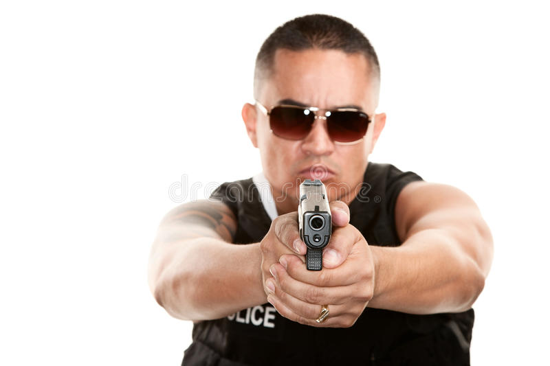 Download Hispanic Cop Aiming Pistol Royalty Free Stock Images - Image: 12524709