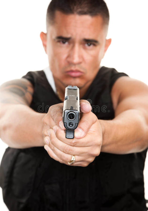 Download Hispanic Cop with Pistol stock image. Image of male, point - 13091375