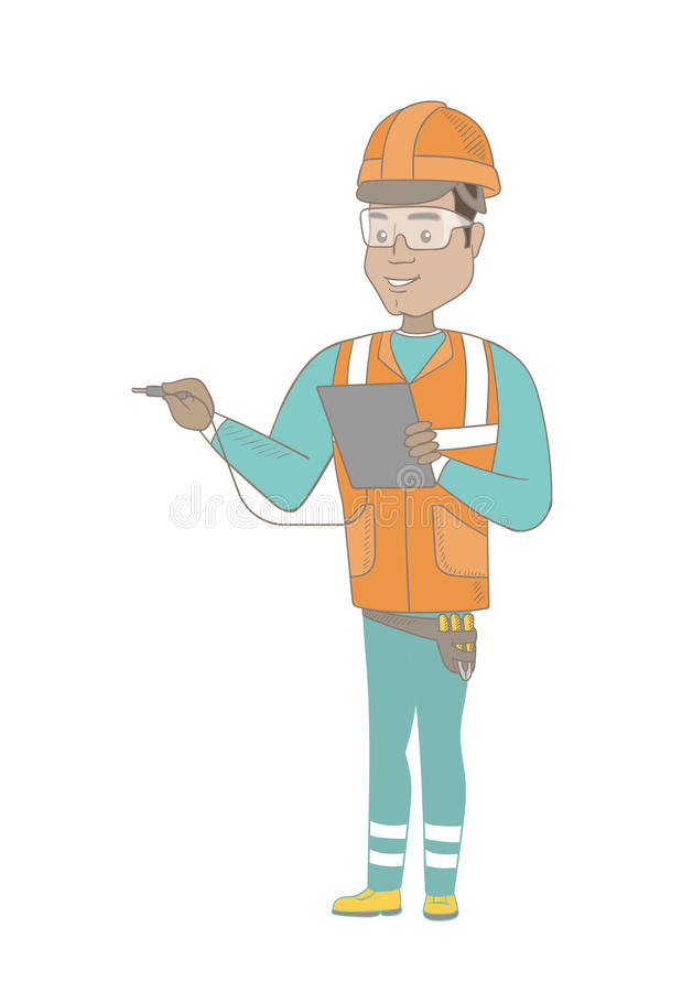 Hispanic electrician with electrical equipment. Young hispanic electrician in hard hat measuring the voltage output. Electrician holding equipment for measuring vector illustration