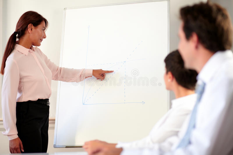 Hispanic executive woman giving a presentation stock images