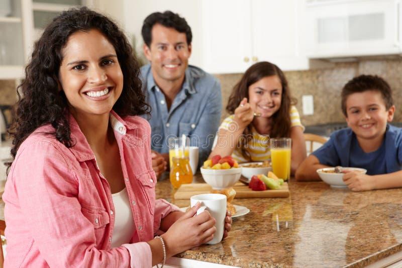 Hispanic family eating breakfast royalty free stock images