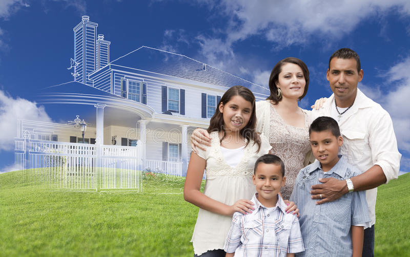 Hispanic Family with Ghosted House Drawing Behind. Hispanic Family with Ghosted House Drawing, Partial Photo and Rolling Green Hills Behind royalty free stock photography