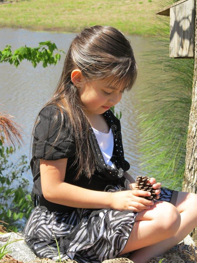 Hispanic Girl- discovering nature royalty free stock photography