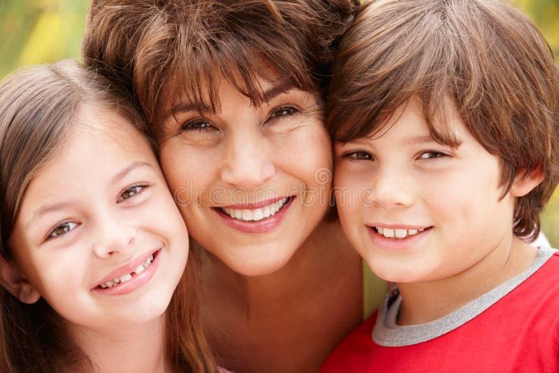 Hispanic grandmother and grandchildren