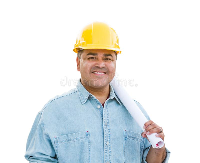 Hispanic Male Contractor In Hard Hat with Blueprint Plans Isolated on a White Background.  royalty free stock photo