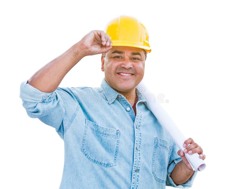 Hispanic Male Contractor In Hard Hat with Blueprint Plans Isolated on a White Background.  stock photography