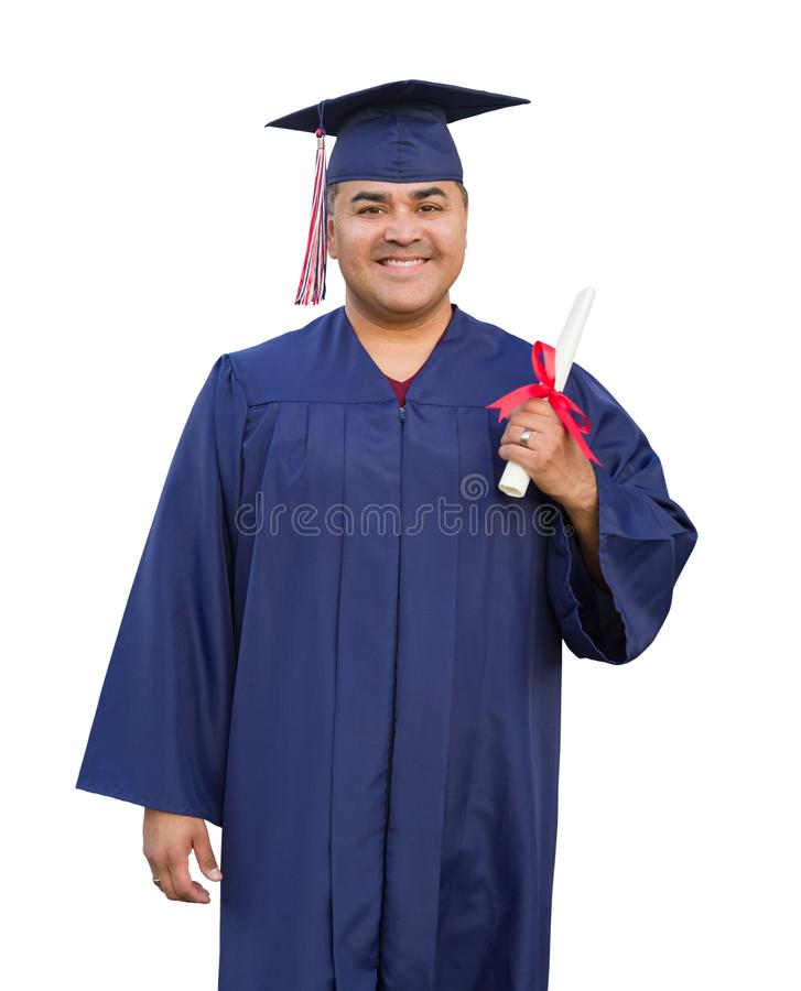 Hispanic Male With Diploma Wearing Graduation Cap and Gown Isolated. On White stock images