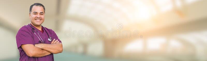 Hispanic Male Nurse Inside Hospital Building Banner royalty free stock photos
