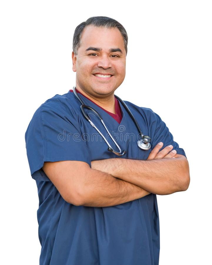 Hispanic Male Nurse Isolated On White stock photos