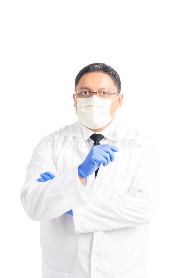 Hispanic Male Professional Wearing Lab Coat royalty free stock images