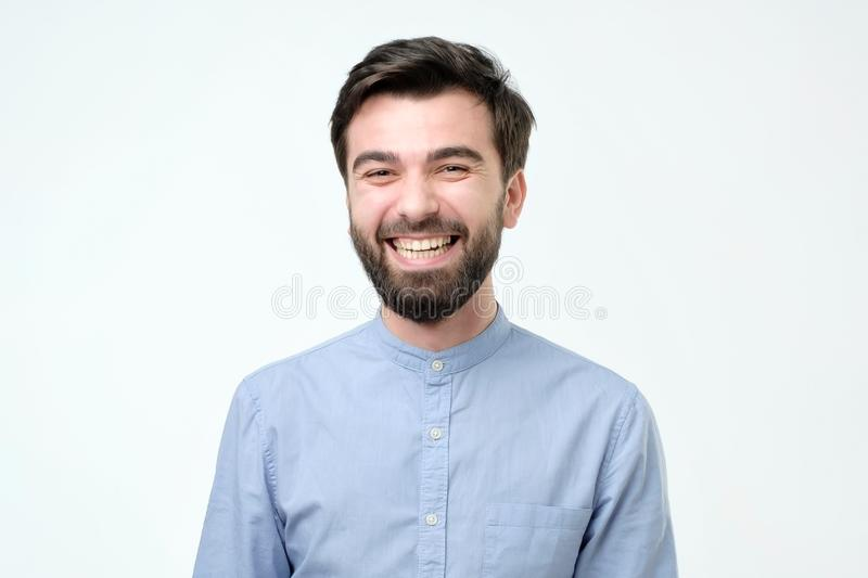 Cute guy grinning stock photo. Image of black, copy