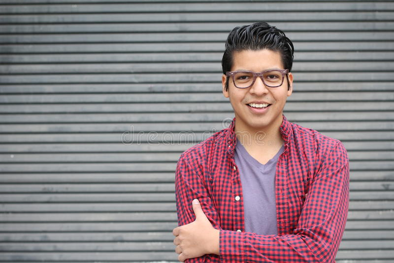 Hispanic man wearing glasses portrait.  stock photos