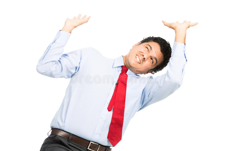 Hispanic Office Worker Under Pressure Resisting royalty free stock photography