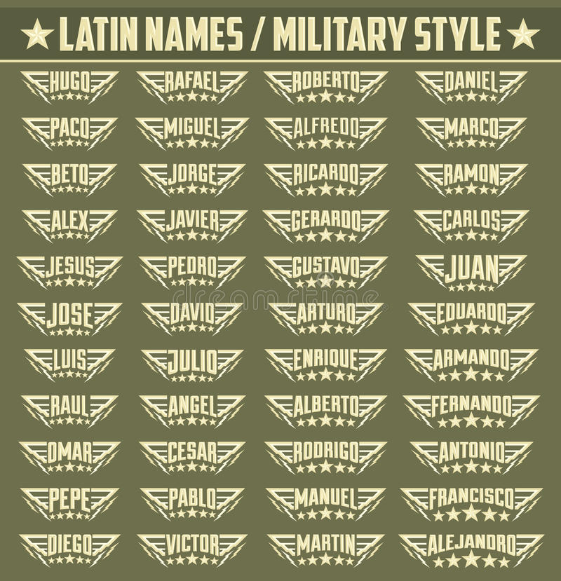 Hispanic popular names, Set of military style badges with personal latin names stock illustration
