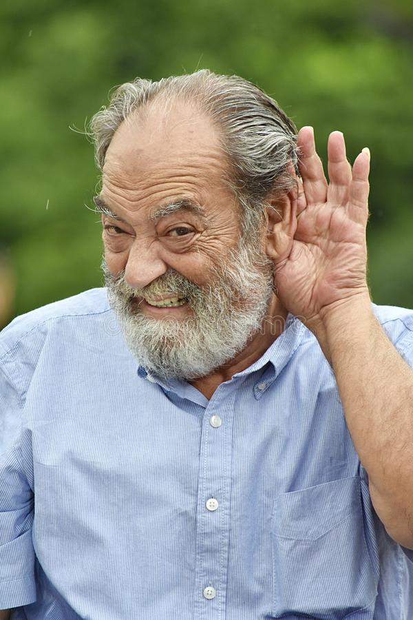 Old Grandpa Listening stock images