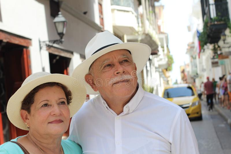 Hispanic senior couple with copy space stock photo
