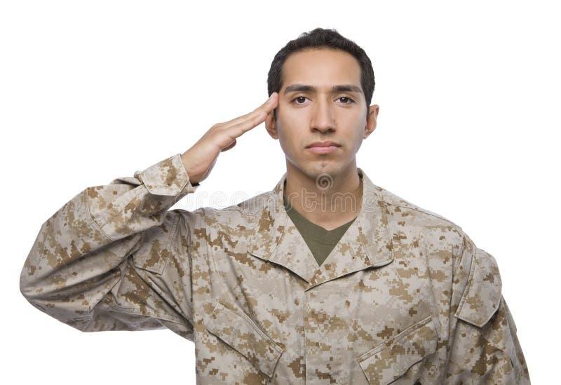 Hispanic Soldier salutes on white background stock image