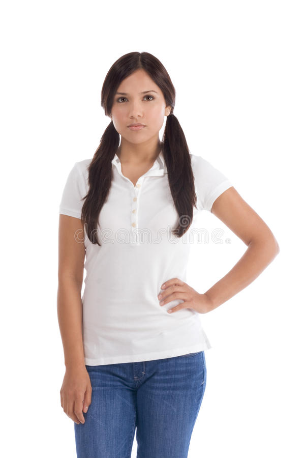 Hispanic teenager in jeans and white polo t-shirt stock images